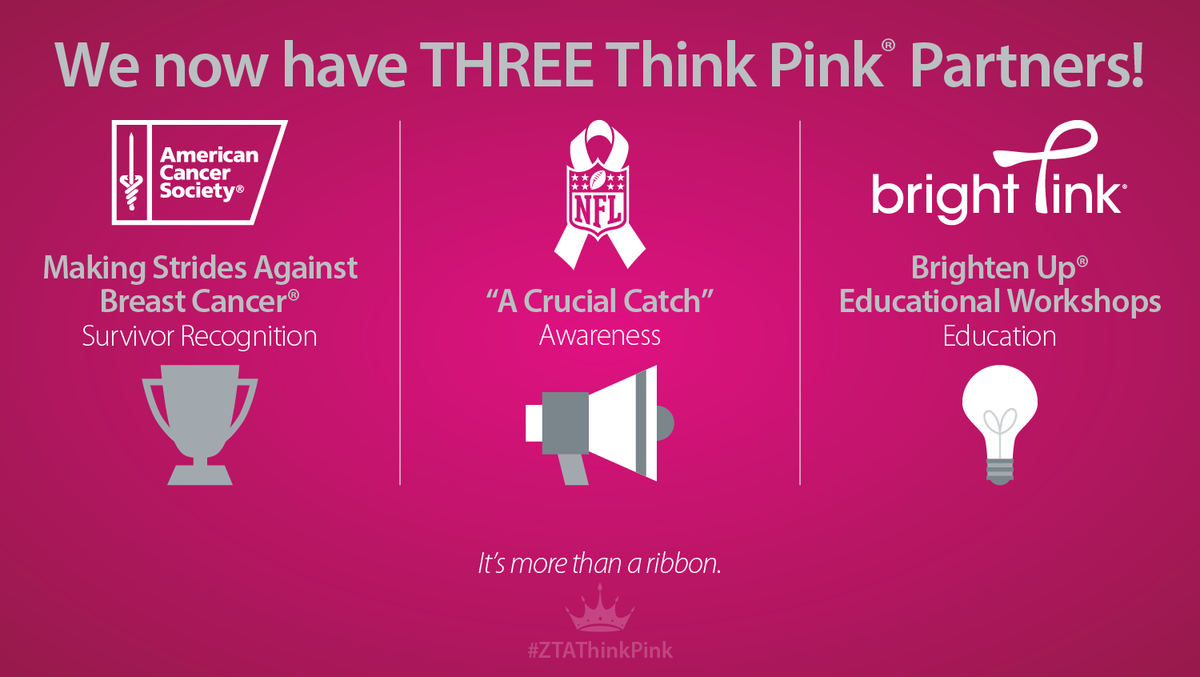 Exciting! ZTA now has 3 #ZTAThinkPink partners: @AmericanCancer, @nfl & @BeBrightPink! READ: http://t.co/pqx8aZrl1r http://t.co/pxN5xRpp9N