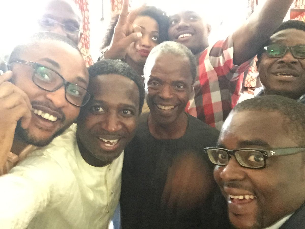"Nice""@MrSleevesUp: First selfie with Vice President of Nigeria, Prof. Yemi Osinbajo. We did it!!! http://t.co/gE7v849jIK"""