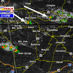 At 3:11, storms are firing up NW of us. Visible Sat also shows some clouds trying to form into more storm. #arwx http://t.co/VSuSHgrXze