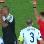 Belgium still lead Israel 1 - 0, but #MCFC defender Vincent Kompany has just been sent off by Mark Clattenburg #SSNHQ http://t.co/lZkQdkRhe6