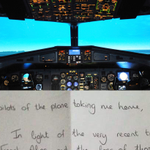 An airline passenger wrote a heartfelt note thanking her pilots for getting her home safe. http://t.co/WqNkqKIpYT http://t.co/zcV153FUJn