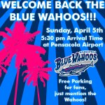 The Blue Wahoos return to Pensacola on April 5th! Come out to @flypensacola to welcome them back home! #WahoosLife http://t.co/5lSqvQUGPE