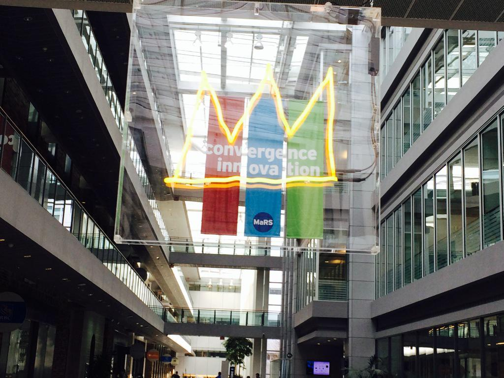 MaRS crowns convergence and innovation. Literally! Way to art up the space, @MaRSDD