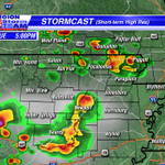 """This is what radar """"could"""" look like at 5pm. Storms could be severe wtih large hail the main threat. #arwx #mowx http://t.co/FEyQyVSGay"""
