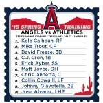 Here's how the #Angels line up today as they take on the Athletics in Tempe. #LAASpring http://t.co/uSHuFrRPOo