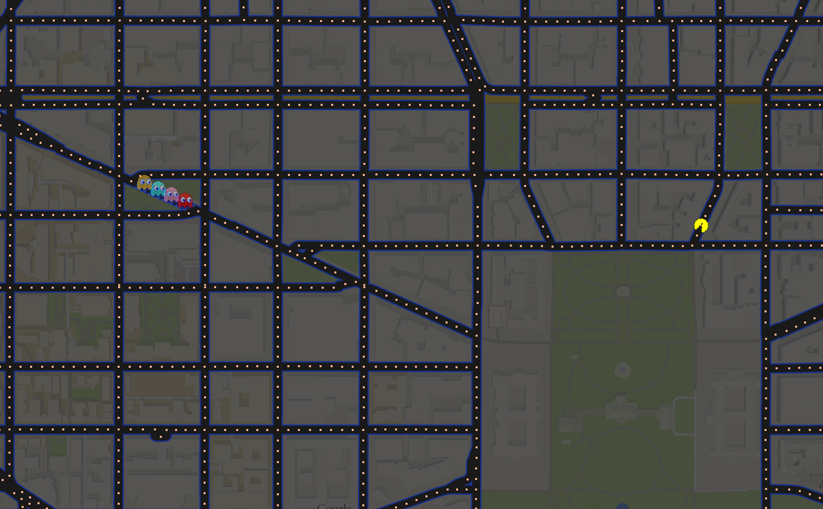 Google easter egg alert. I just google mapped an address and the result was a pacman game. http://t.co/nEuHmOKy2C
