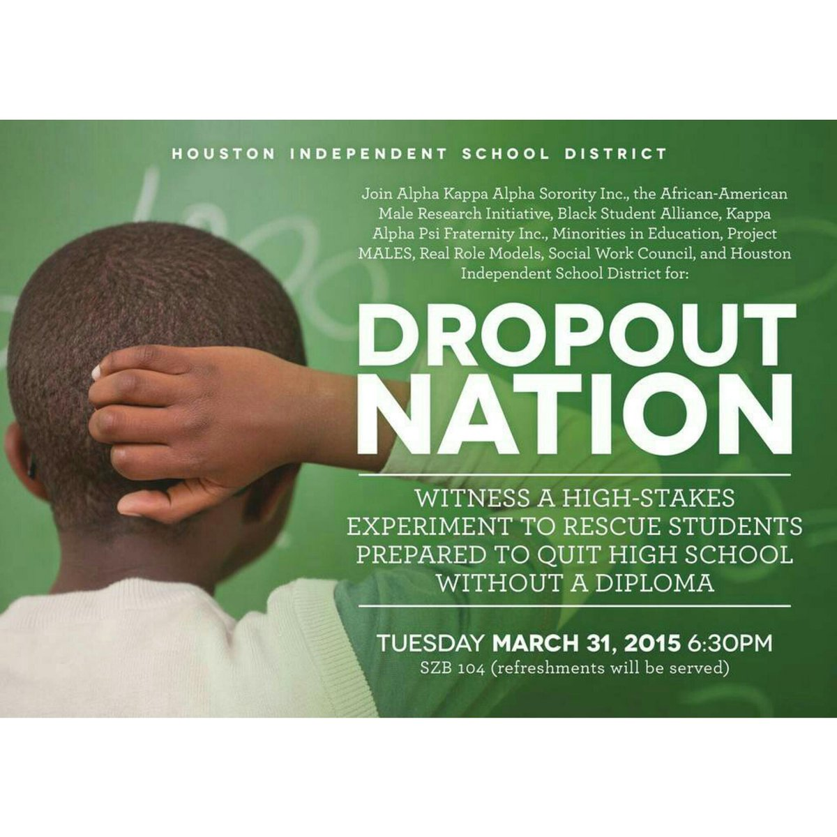 Let's learn how we can spread the gift knowledge. Come out tonight. 6:30. SZB 104. #dropoutnation http://t.co/KzMc1fEJzn