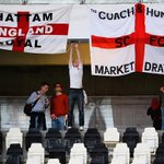 PHOTO: @England fans get their flags and banners ready ahead of tonights kick-off against @azzurri #ITAvENG http://t.co/BXT0yhfxDq