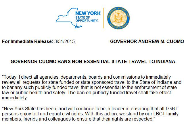 INBOX: Governor Cuomo Bans Non-Essential State Travel to Indiana http://t.co/oASDu0ByOZ