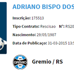 Publicada no BID a rescisão de contrato do volante Adriano com o Grêmio: http://t.co/TxyL6E5ZEE