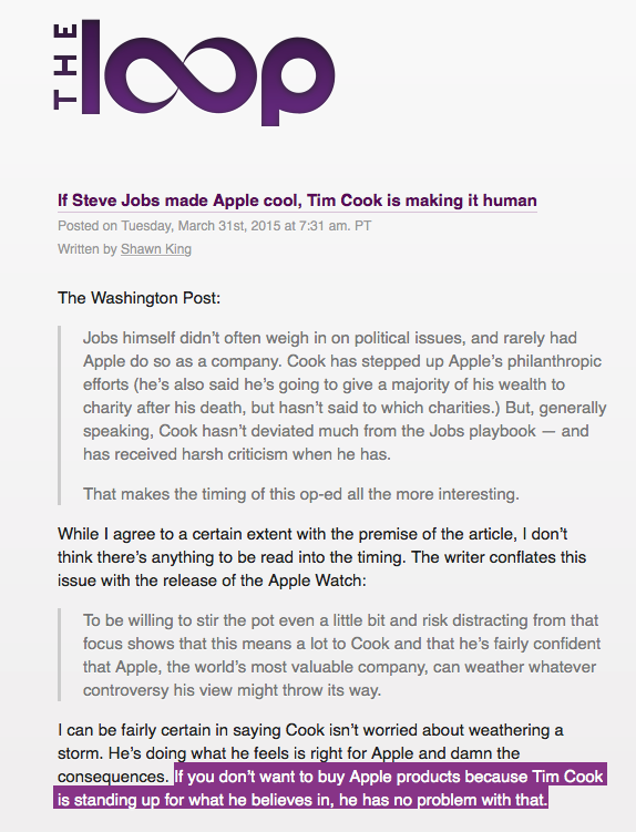 """If Steve Jobs made Apple cool, Tim Cook is making it human""   @ShawnKing at @theloop http://t.co/je7kpCj5tP"