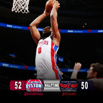 HALFTIME and the #Pistons have the lead over Atlanta. Dre with 13 and 5. Reggie 5 and 10 assists http://t.co/6WzxxfNdY2