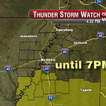 Severe Thunder Watch is in effect until 7PM tonight for parts of North Mississippi. Tune into News Channel 3 now. http://t.co/PNxODP8zFG