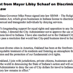 #Oakland #CA Mayor #LibbySchaaf bans city-funded travel to #Indiana due to antigay #RFRA law http://t.co/EMDqwe6x2c