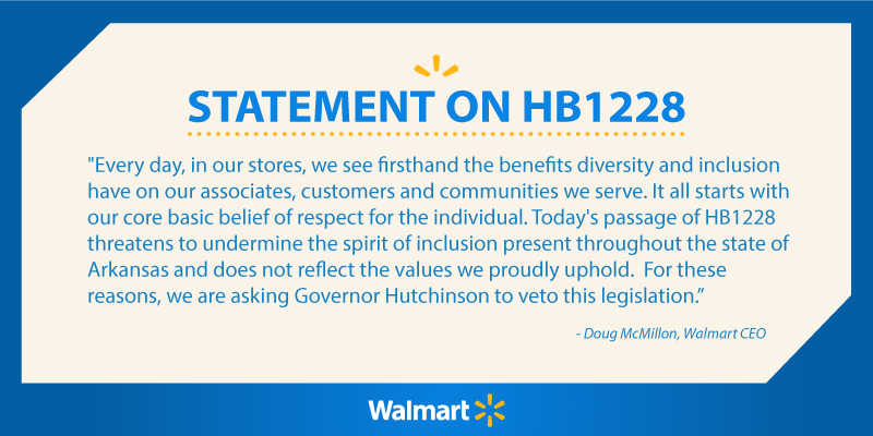 You know you're a dick when Walmart speaks out against you. RT @WalmartNewsroom: Our statement on Arkansas #HB1228 http://t.co/Og76iLlwCY