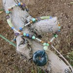 Blue Agate Necklace with Glass and shell 16 by JabberDuck http://t.co/A0EFEnAQLx http://t.co/V6BnXkfDcn