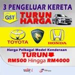 """@JPenerangan: #GST Harga Kereta Turun. Terima Kasih! #Malaysia #jp01@najibrazak http://t.co/sphkcAuBpW"""