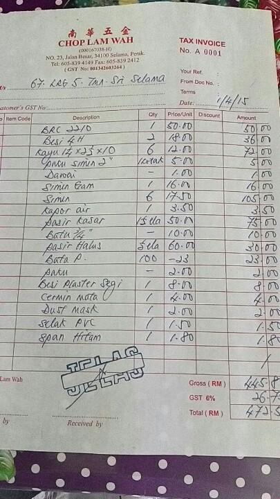 Bagi peniaga yang keluarkan resit begini, minta mereka tunjukkan sijil pendaftaran GST #CelikGST @KPDNKK @kastamhq http://t.co/8VLWHT4BCn