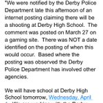 JUST IN: @DerbySchoolsKS investigating a threat of shooting at the high school. There IS school tomorrow. http://t.co/tgiFMhefYs