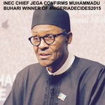 BREAKING: @inec chief Jega confirms APCs Muhammadu Buhari as winner of presidential election. #NigeriaDecides http://t.co/JY79gd1kX9