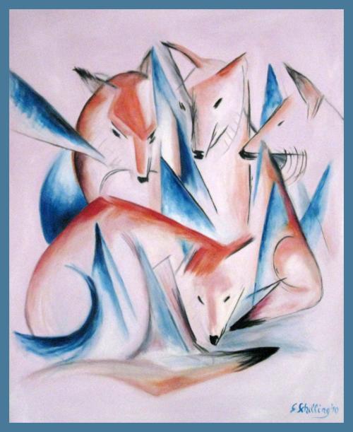 4 zorros y el sueño, réplicas del famoso pintor Franz Marc! http://t.co/89xDpBbAD3 http://t.co/jYxWzb0Isl