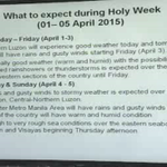 PAGASA: What to expect during Holy Week #ChedengPH http://t.co/FMooo768zS