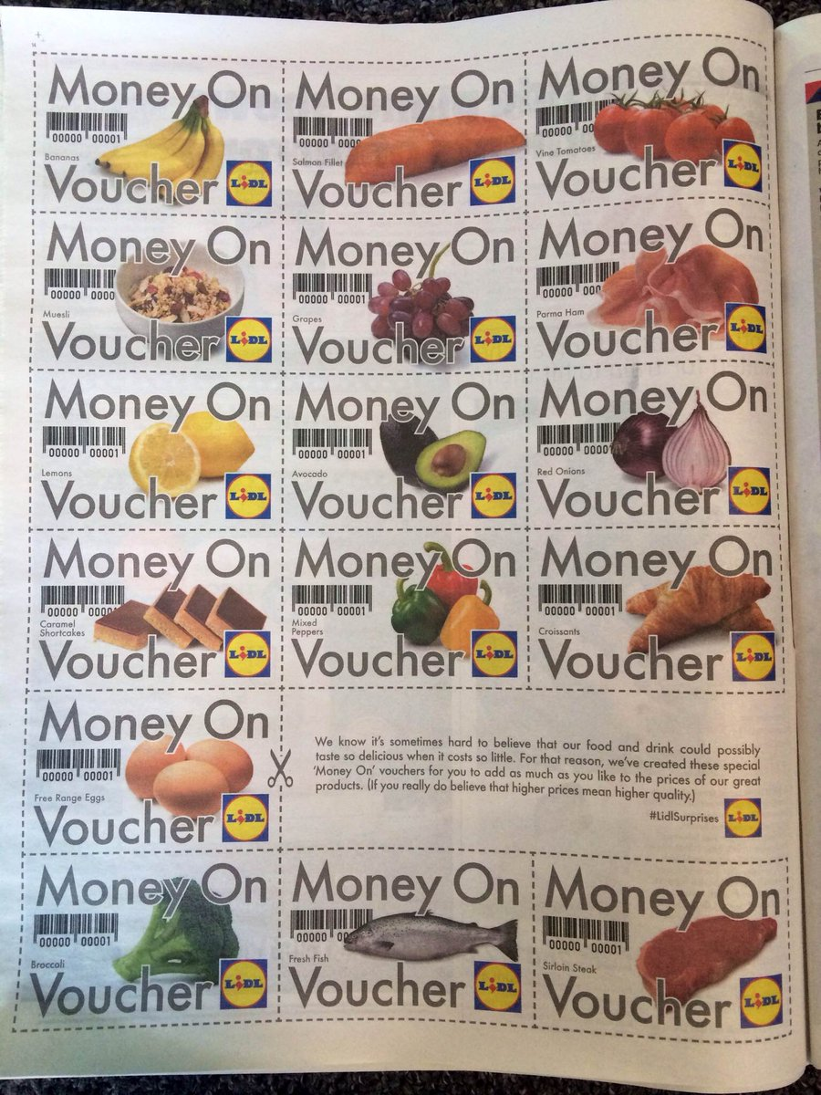 "Love it. Bravo Mr S et al RT ""@TBWALONDON: @LidlUK 'Money On' vouchers in the @MetroUK this morning! #LidlSurprises http://t.co/upnggDC6Q0"""
