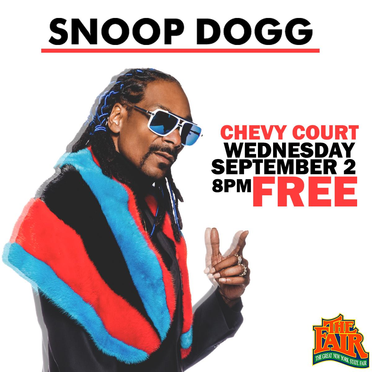 .@SnoopDogg will take the stage 9/2 at 8pm! #free #nysfair http://t.co/h5HCQcFlnB
