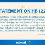 Wal-Mart CEO urges Arkansas Governor @AsaHutchinson to veto #religiousfreedom bill. Wal-Marts HQ is in Arkansas. http://t.co/4PD6oB1GKo