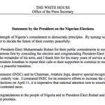 """I extend congratulations to the people of Nigeria and to President-Elect Buhari"" —Obama on the Nigerian elections http://t.co/utred5jekO"