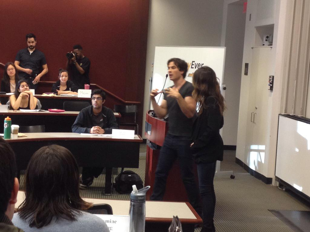 #BestDayEver is a big Chrysler marketing campaign which includes @iansomerhalder @NikkiReed_I_Am teaching a class http://t.co/CdVSG4AYE6