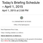 """Another """"fluid"""" day at #Iran talks in Lausanne, another cancelled @StateDept briefing in Washington. http://t.co/xS1DlTghkg"""