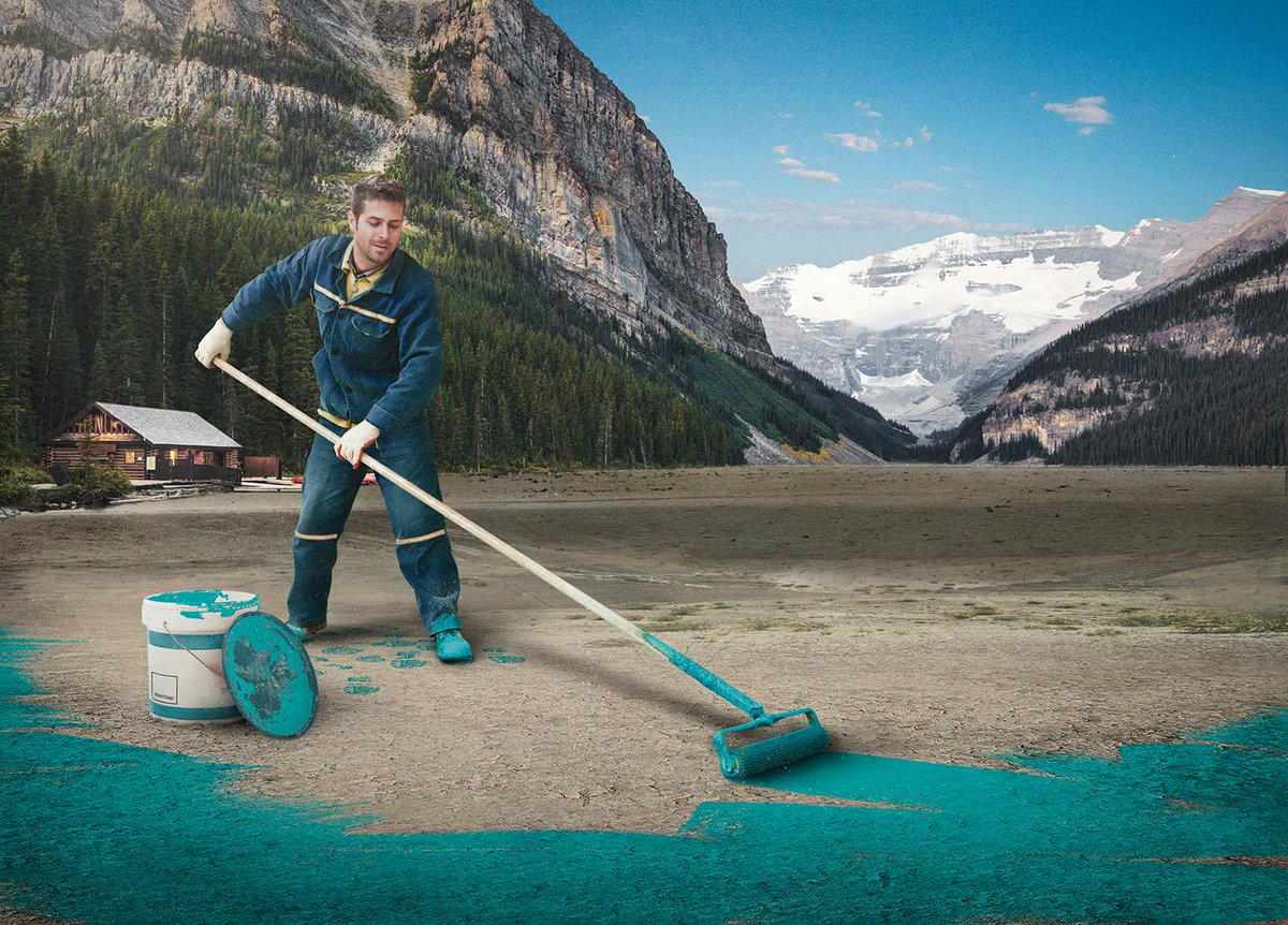 Spring cleaning! A look at Lake Louise yesterday, getting re-painted for the first time since 1915.  #mybanff http://t.co/FLUc5mJs5a