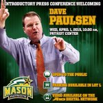 Its a great day in Fairfax. Help us #WelcomeCoachPaulsen at the press conference in the Patriot Center at 10:30 am. http://t.co/zXcIMQ2cfT