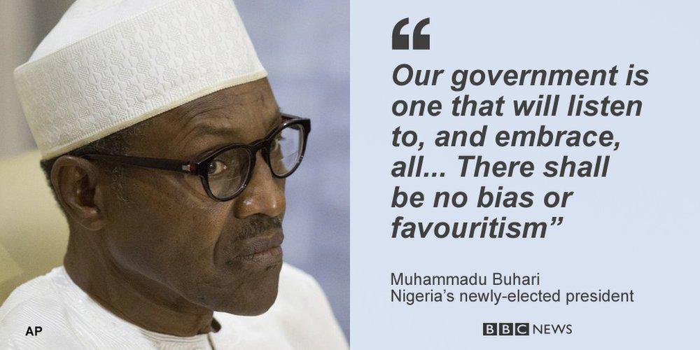 Nobody will be above the law in Nigeria, newly-elected president Muhammadu #Buhari vows http://t.co/EzVEqw8EU6