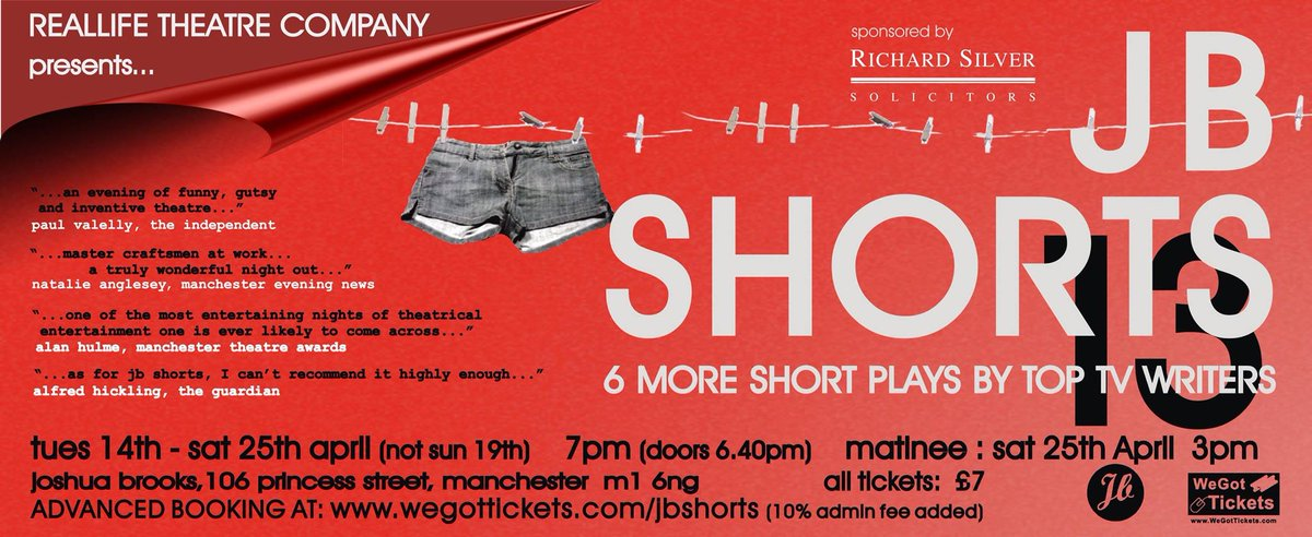 Six more short plays by top tv writers- @Jbshortsplays is back (13th-25th April) Tickets here http://t.co/Wqa5jXNFfZ http://t.co/Cggwu8eT3n
