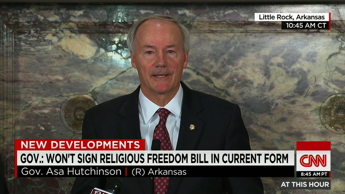 #Breaking: Arkansas Gov. won't sign 'religious freedom bill'; says changes are needed: http://t.co/Yr7psD2IT7 #RFRA