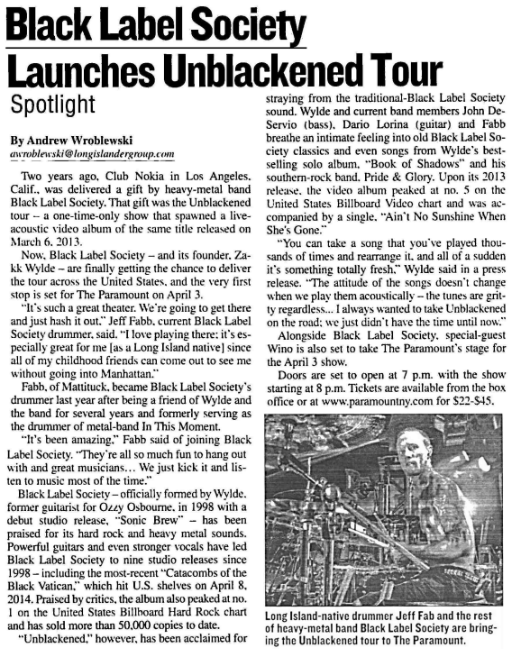 LONG ISLAND: Check out the fantastic interview with @JFabb in @longislandernws (cc @ZakkWyldeBLS) http://t.co/XsUvngHvOI