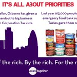 100 business leaders back Tories. Tories give big business £5bn. While... 913,000 visit a foodbank. @unionstogether http://t.co/s9Xw8SVpoI