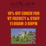 Virginia Tech Faculty and Staff: You now get 10% off lunches at 622! @vt_edu @newrivernews @vtnews @BlacksburgStuff http://t.co/dvQ1T7HhQx