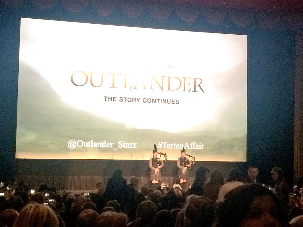 Bagpipers opening the @Outlander_Starz event w/friend of the #NYTVF @RonDMoore in the house! #TartanAffair #welovetv http://t.co/KlQzL8Xzcv