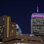 The Pru is purple tonight for the @HerrenProject - Chris Herrens non-profit to fight addiction. (pic @617Images) http://t.co/tBLLfFlKyW