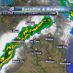 Line of rain and storms will track into Eau Claire area between 10-11 PM...after midnight in La Crosse area. #wiwx http://t.co/JHd8EhCq4s