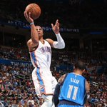 Russell Westbrook (31 Pts, 11 Reb, 11 Ast) gets his 10th triple-double of season, but Thunder fall to Mavs, 135-131. http://t.co/TbVE6ngF7t