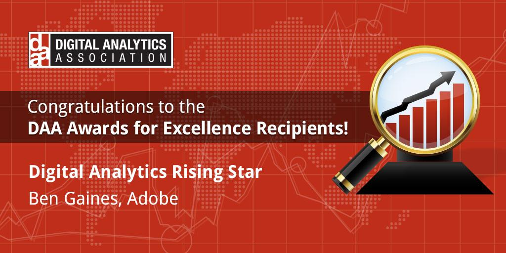 Congratulations to the WINNER for Digital Analytics Rising Star! @benjamingaines from Adobe. #DAAawards15 http://t.co/UnxemG1oKF
