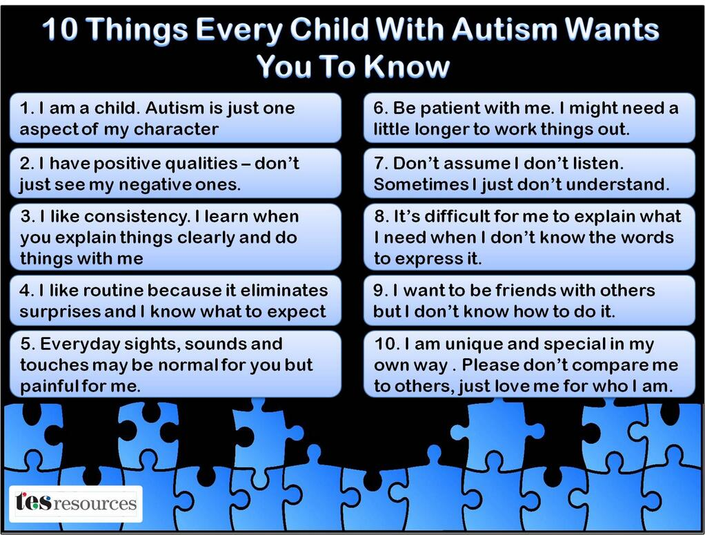 Thanks Mike. This is great! RT @mmatp 10 Things Every Child With Autism Wants You To Know. #WorldAutismAwarenessDay http://t.co/xif0gqIfiS