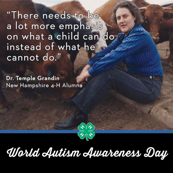 In honor of World Autism Awareness Day, we honor @DrTempleGrandin, @ColoradoStateU professor & @NH4H alumna. #LIUB http://t.co/1sJALRpBFG