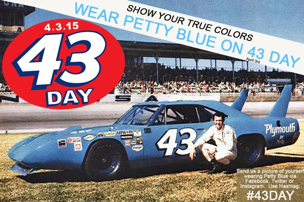 Show your love & Wear your Petty Blue on #43Day (April 3rd).  Send us a photo w hashtag #43Day http://t.co/fvHTbnRxLL http://t.co/nBH3X1mlKO