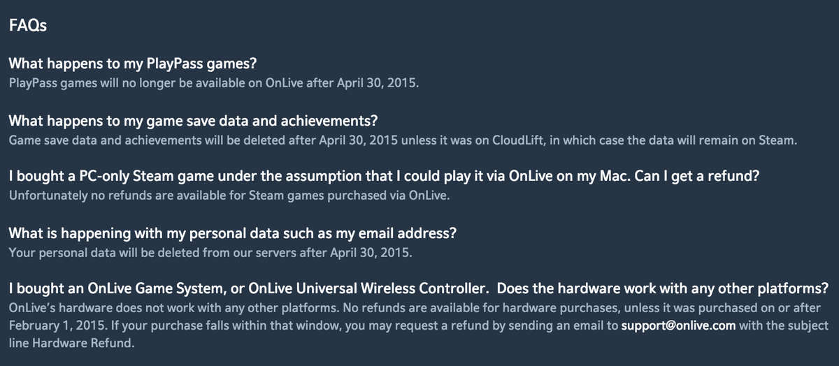 The OnLive shutdown FAQ is a lesson in ownership in a digital world. http://t.co/JNPjVafyS9 http://t.co/WT6CHcMLdq