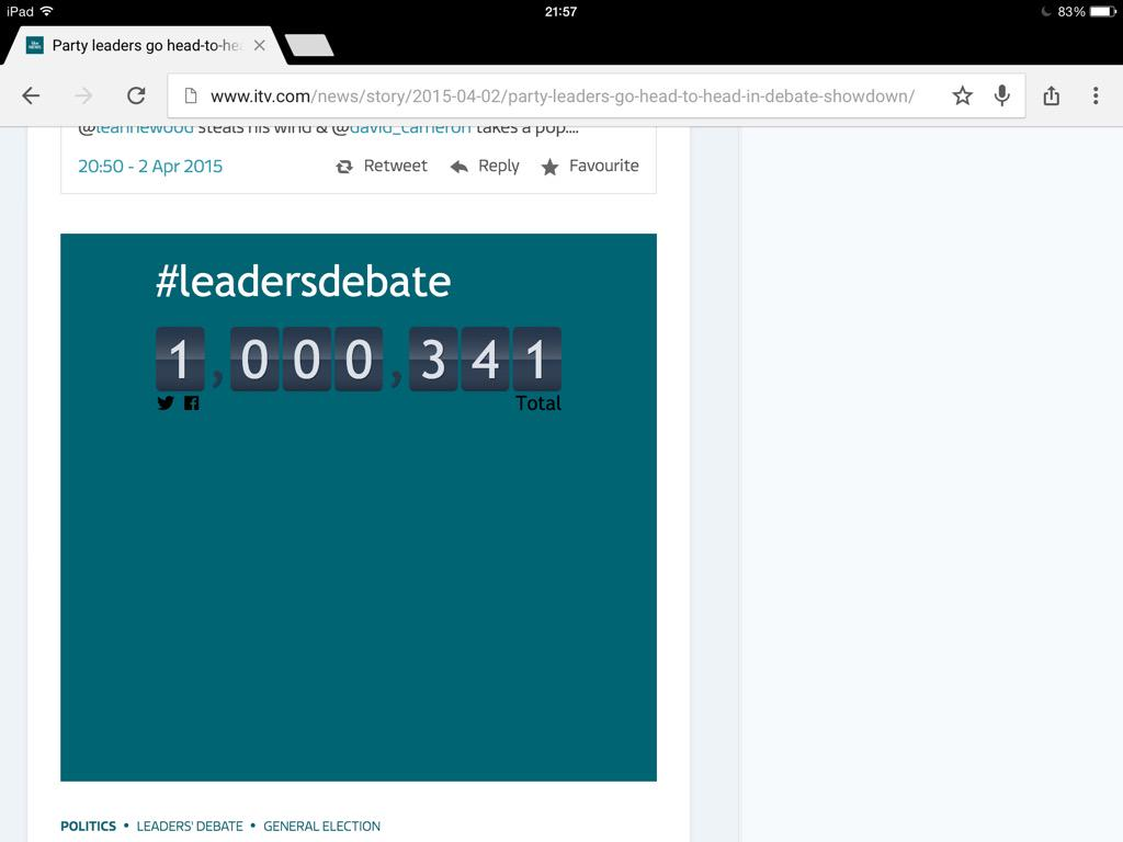 We got there right at the end: 1,000,000 #leadersdebate tweets http://t.co/uEJ5TVFOqs